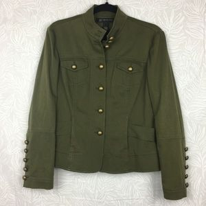 INC Military Style Jacket Button Up Olive Gold O18